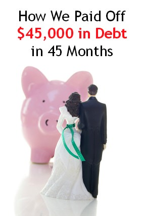 cake-topper wedding couple and piggy bank( money troubles concept )